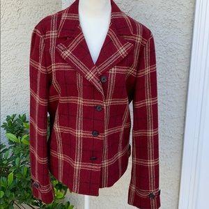 Lauren Ralph Lauren Red Plaid Wool Jacket Size 8